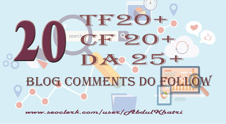 I Give 20 Dofollow Blob Comments links Trust Follow 20+ Citation Follow20+ with Domain Authority25+.