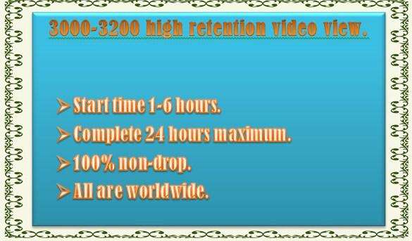 1000-1200 Non Drop You Tube video view