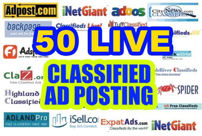 I am post your Ads on 50 top rated classified website for