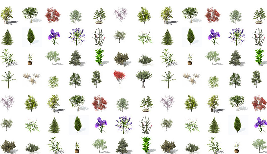 will give you 100 3d models of trees in obj
