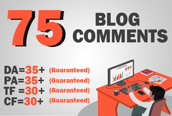Do 75 high TF CF & DA PA Blog Comments