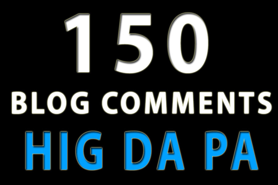 150 blog comments high quality backlinks da pa