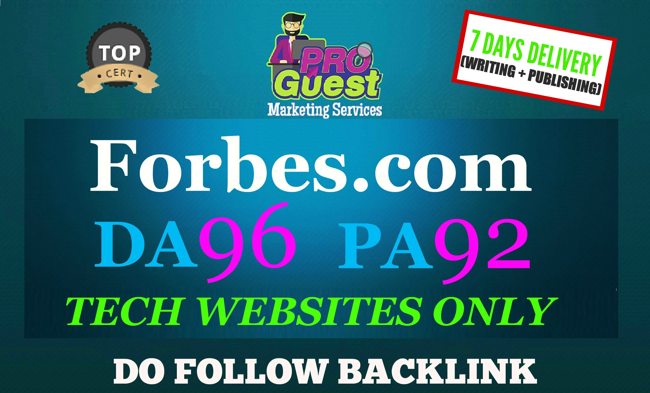 Publish a FEATURED Tech Guest Post on Forbes for $125