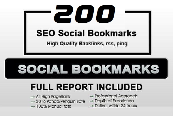 add 200+ SEO social bookmarks to your site, rss, ping