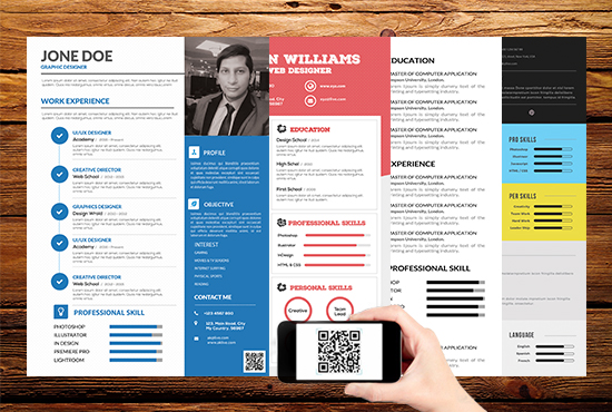 make professional and modern resume with qr code for  5