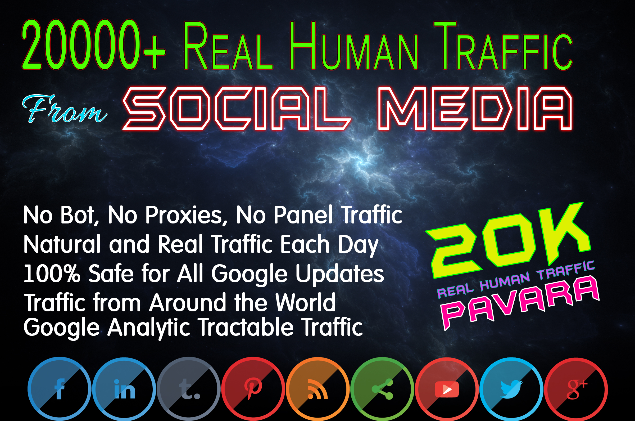 Drive 20000+ Human Web Traffic from Social Media