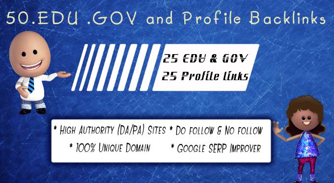 25 Edu Gov and 25 Authority Profile backlinks