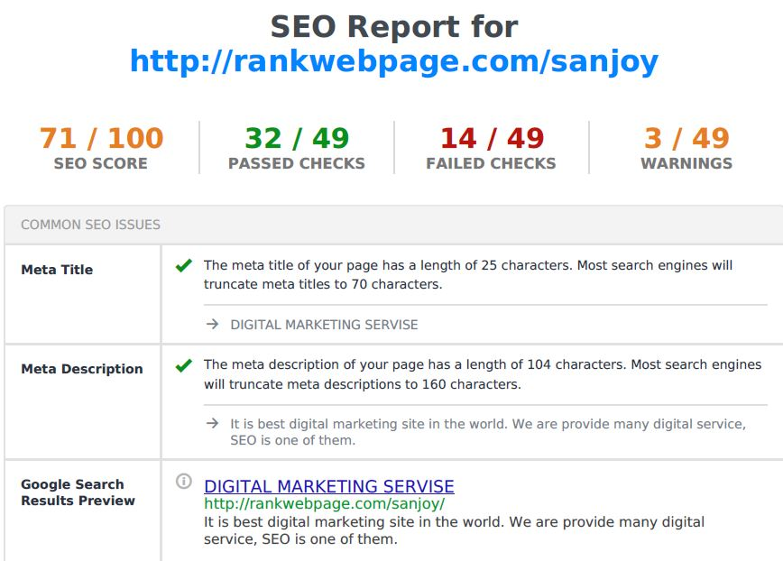 SEO Analysis and Audit Report for your website