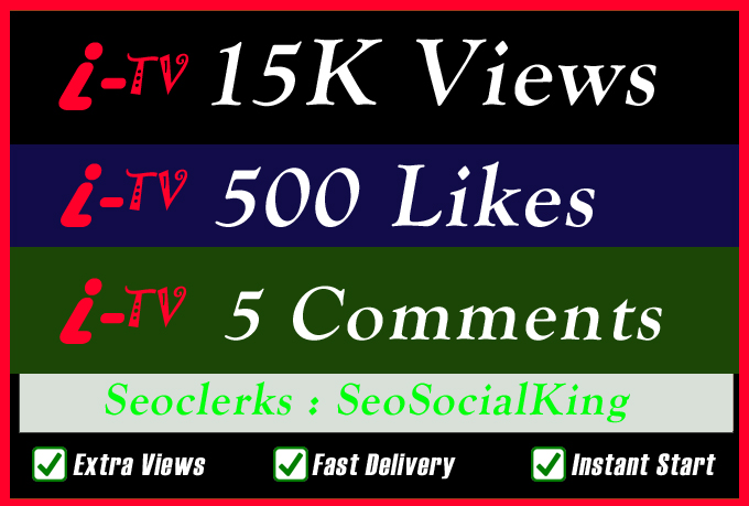 15K World Wide TV Video Views Promotion Or 500 Likes Or 5 Custom Comments Social media Marketing