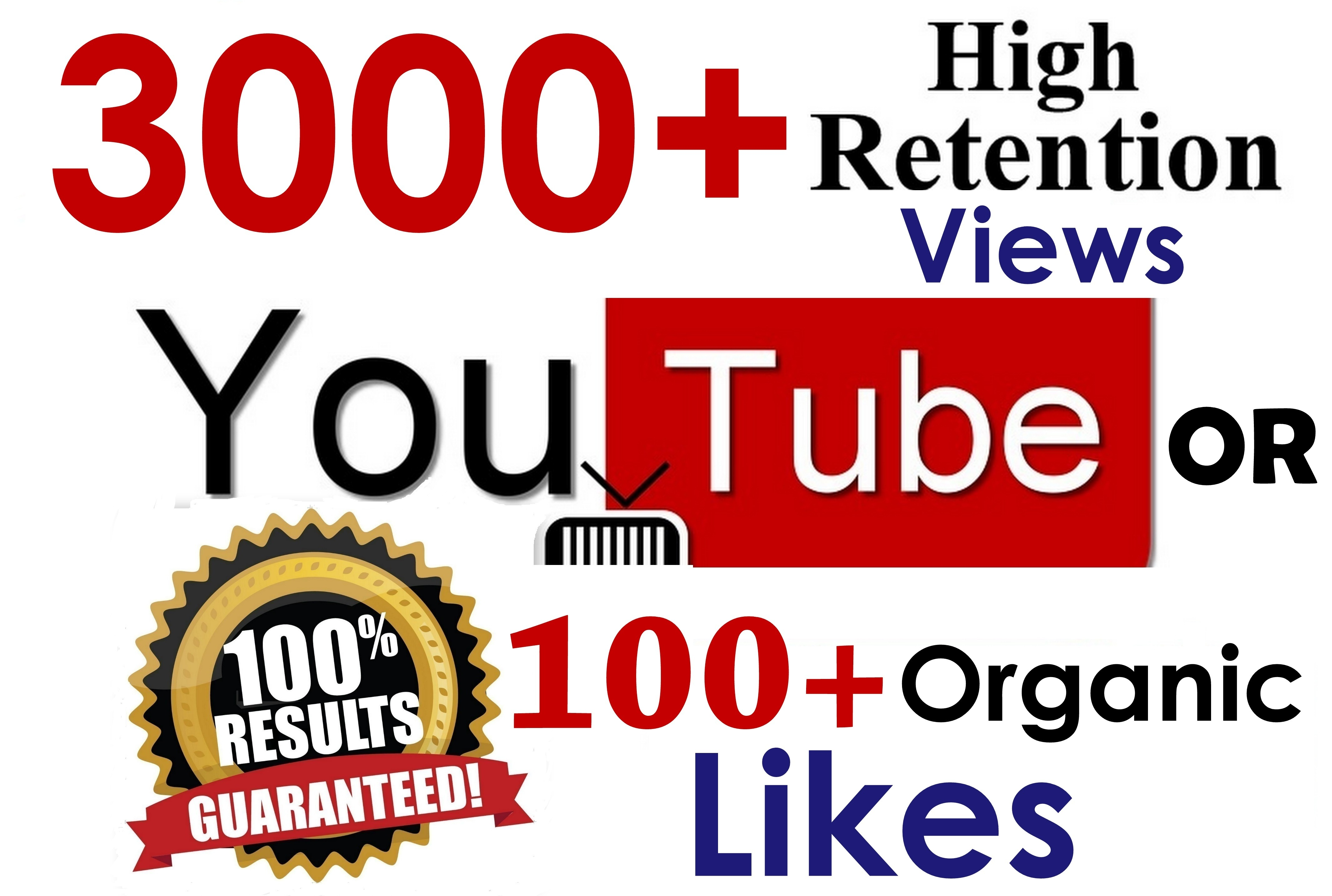 3000 YouTube Views and 50 Likes complete within 6 hours