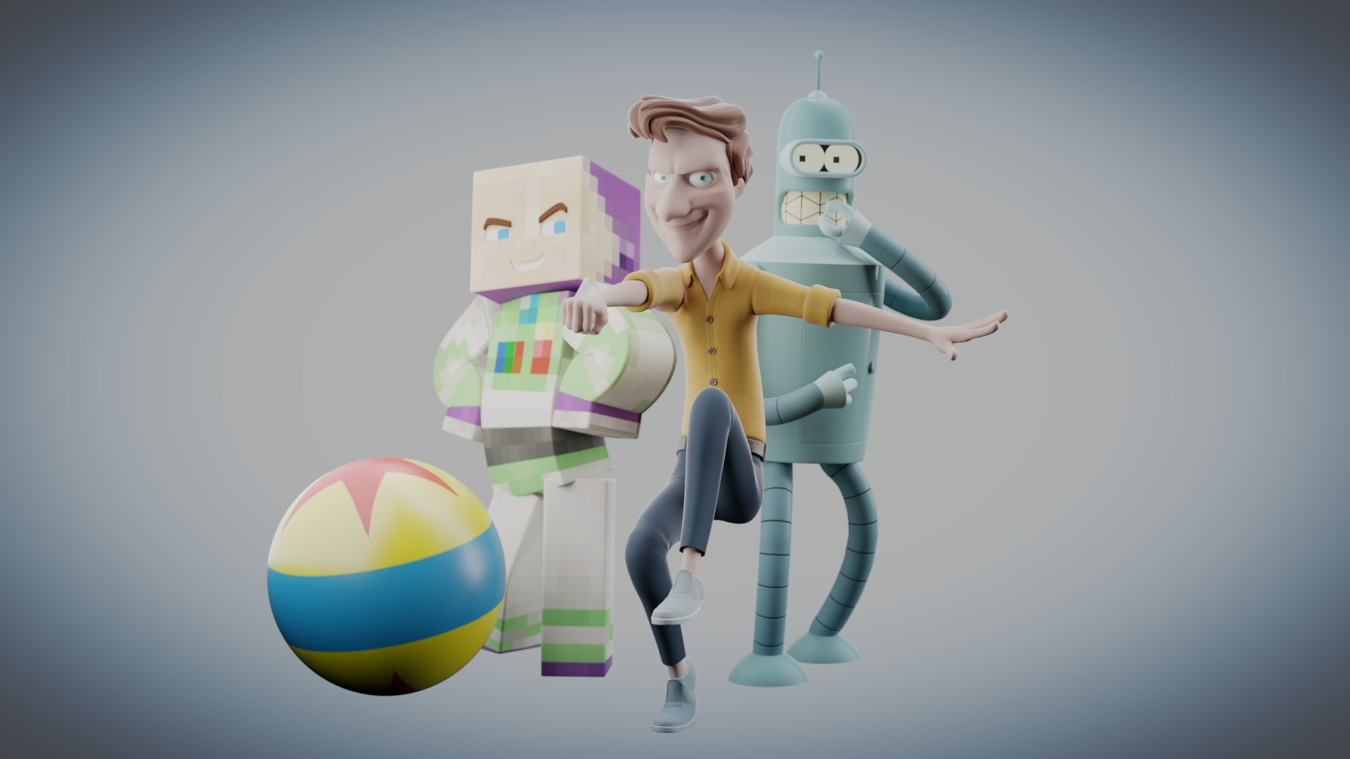 3D animation of characters, etc