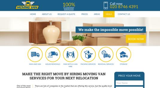 Established Removals & Man and Van Website for Sale