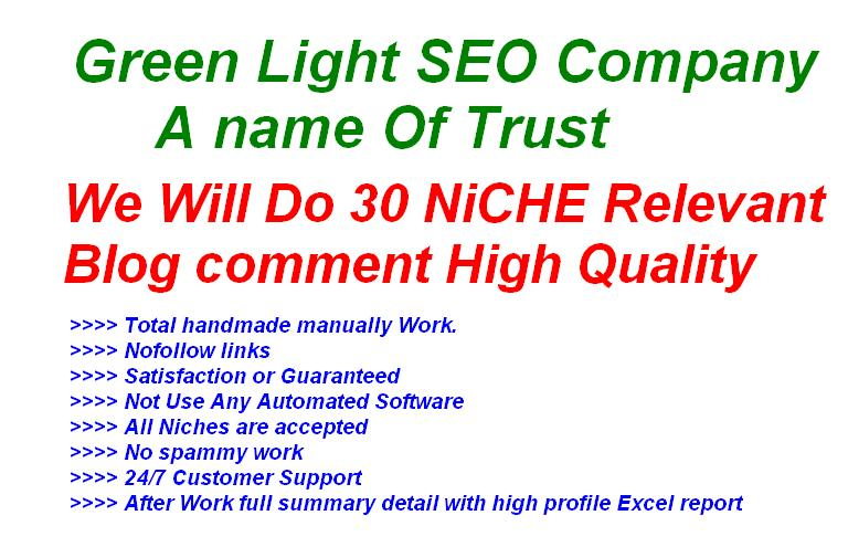 do 30 NICHE Relevant Blog Comment High Quality