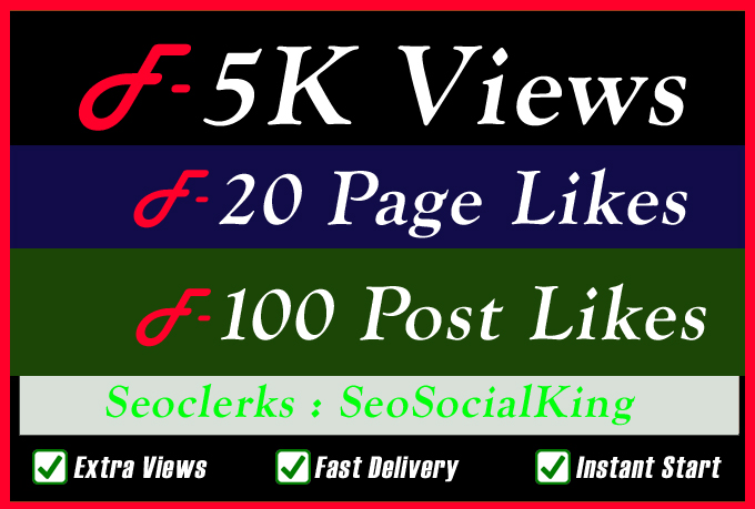 5K Video views Promotion with Fast Delivery Or 20 Page Or 100 Image Promotion