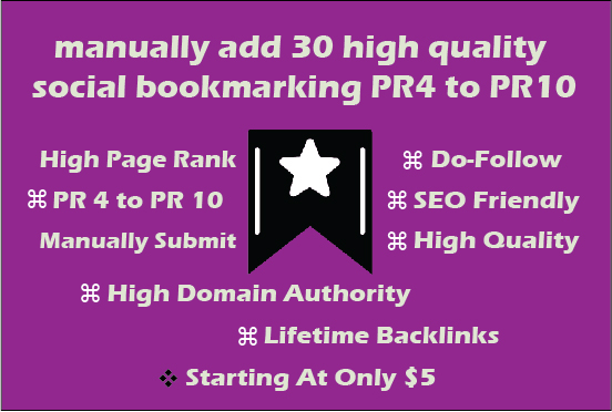 manually add 30 high quality social bookmarking PR4 to PR10