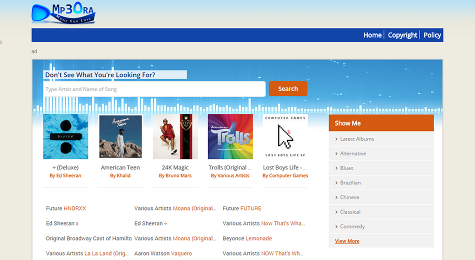 Mp3OraXvr Mp3 Search Engine PHP Script