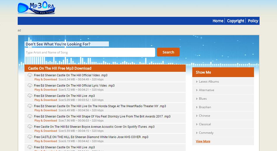 Mp3OraXvr Mp3 Search Engine PHP Script