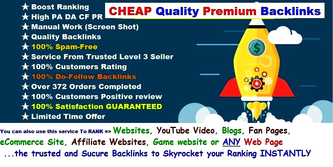 INSTANT Rank BOOSTER SEO Guaranteed Premium Backlinks- LIMITED Time Offer