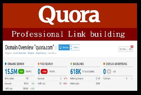 Give 10 DoFollow PR7 Backlinks and Trafffic from Quora