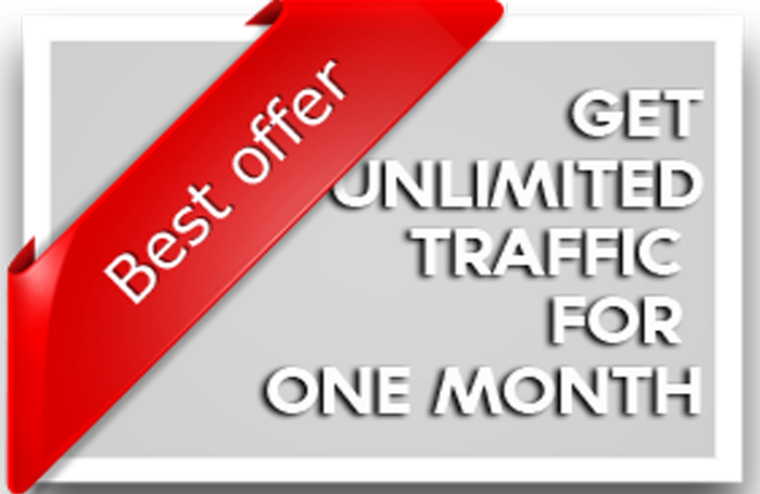 Unlimites real traffic. 100000 traffic in less than 30 days.