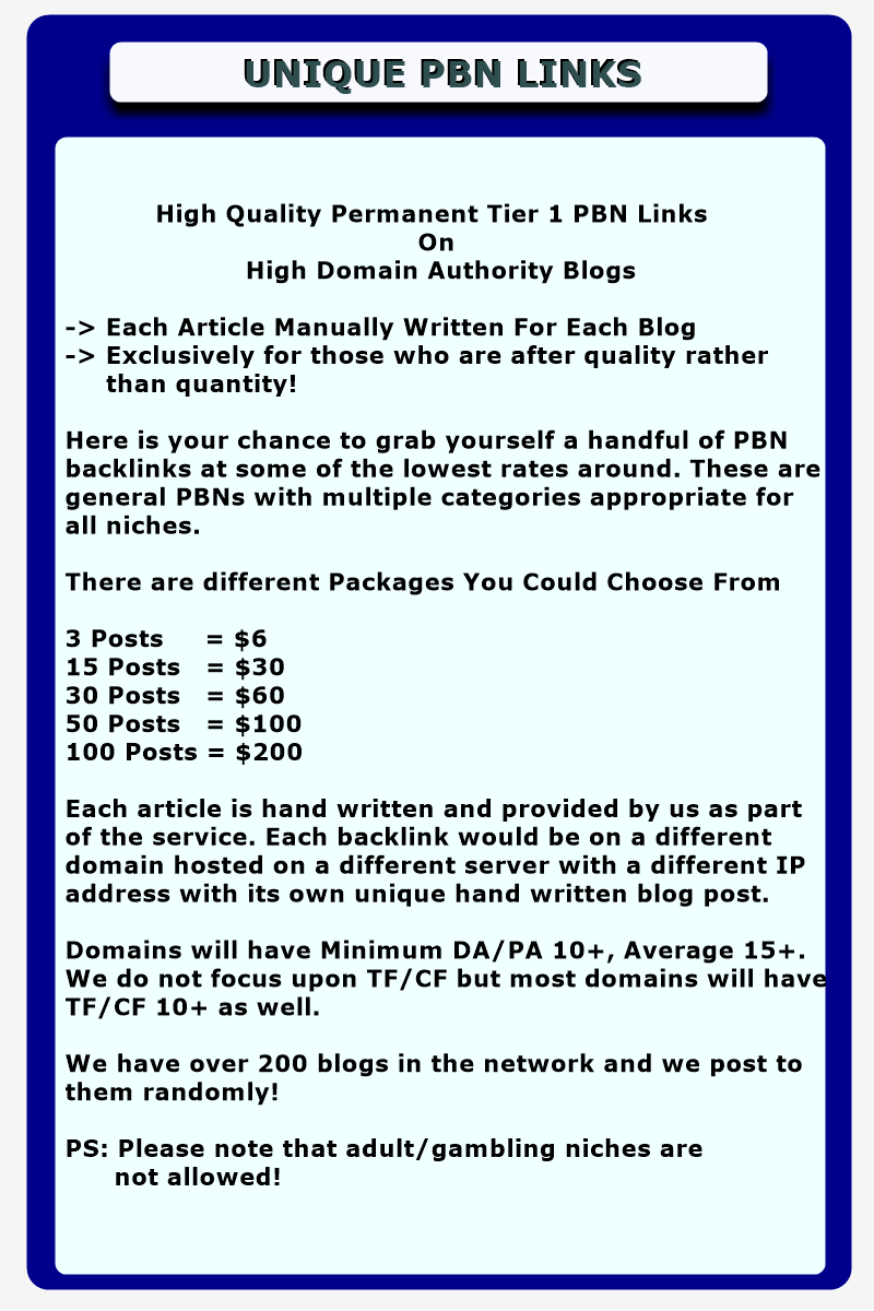 30 x PBN Links - Upto DA 30+ Domains - Private Blog Network Posts