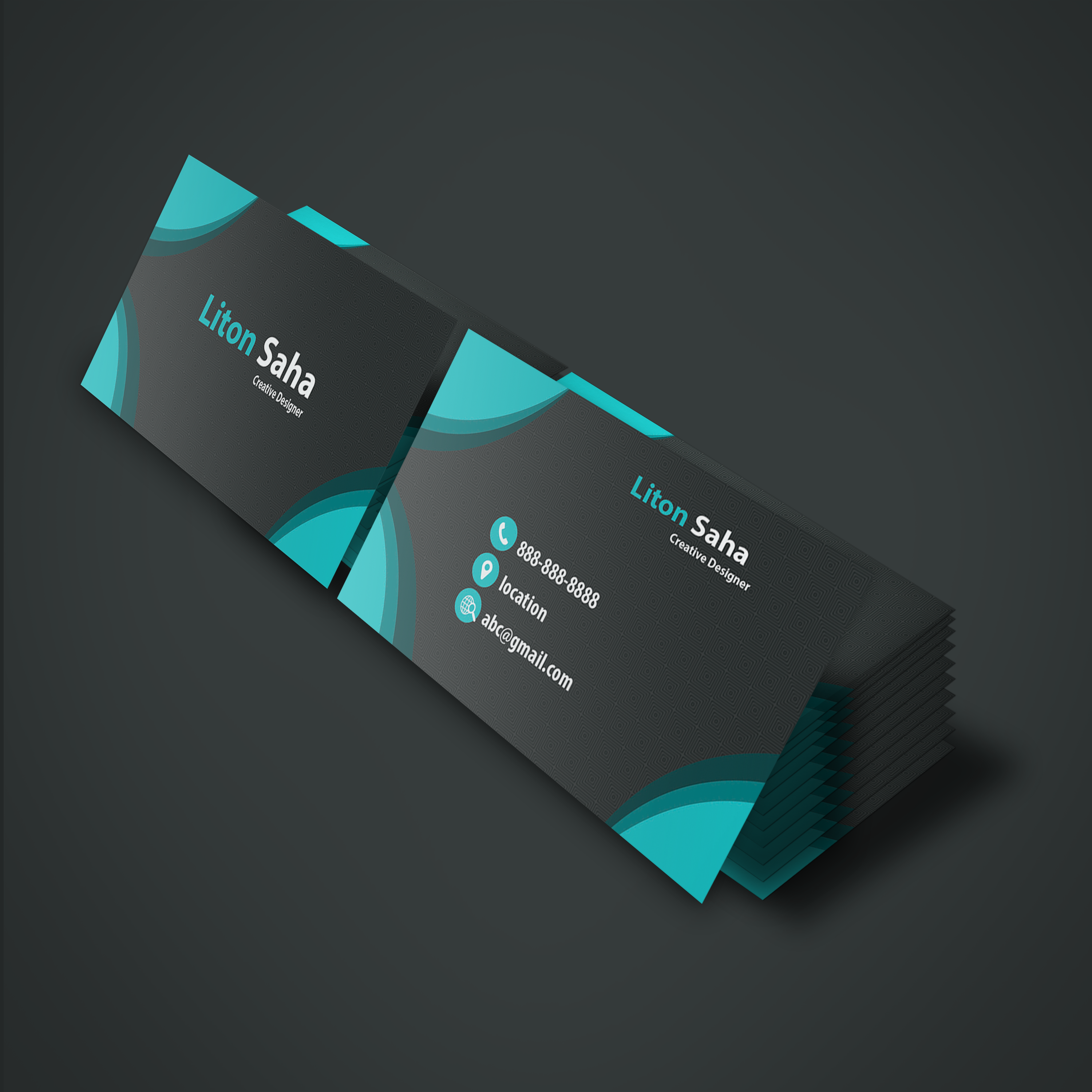 Create Two Part Black Shape Business Card
