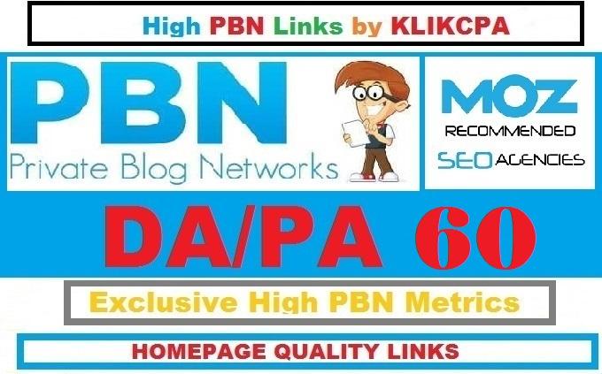 Permanent 6 Manual HIGH DA PA 60 Dofollow Homepage PBN Links