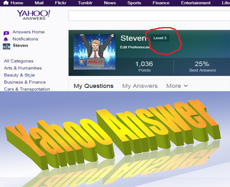 Promote your website link in 4 Yahoo Answers From 4 level accounts
