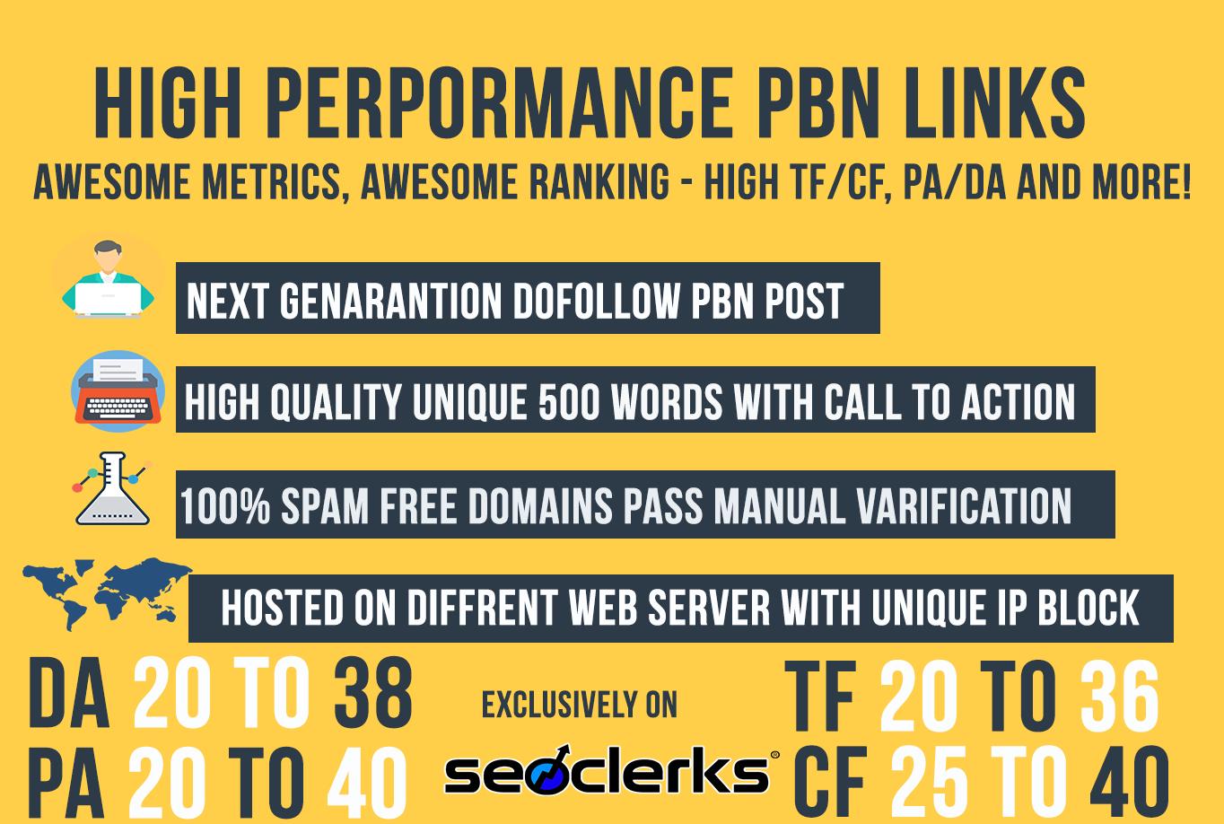 Ranking Solution - DA& TF UPTO 35 5 Permanent Dofollow PBN Links