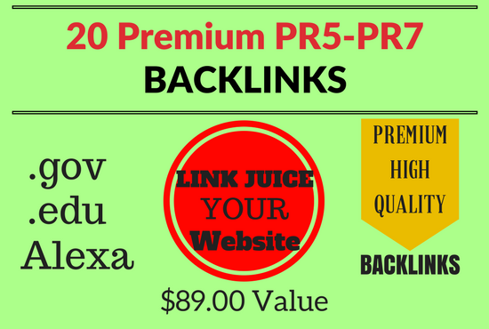 20 Premium, High PR5-PR7 Backlinks Plus free Ping .gov .edu Alexa