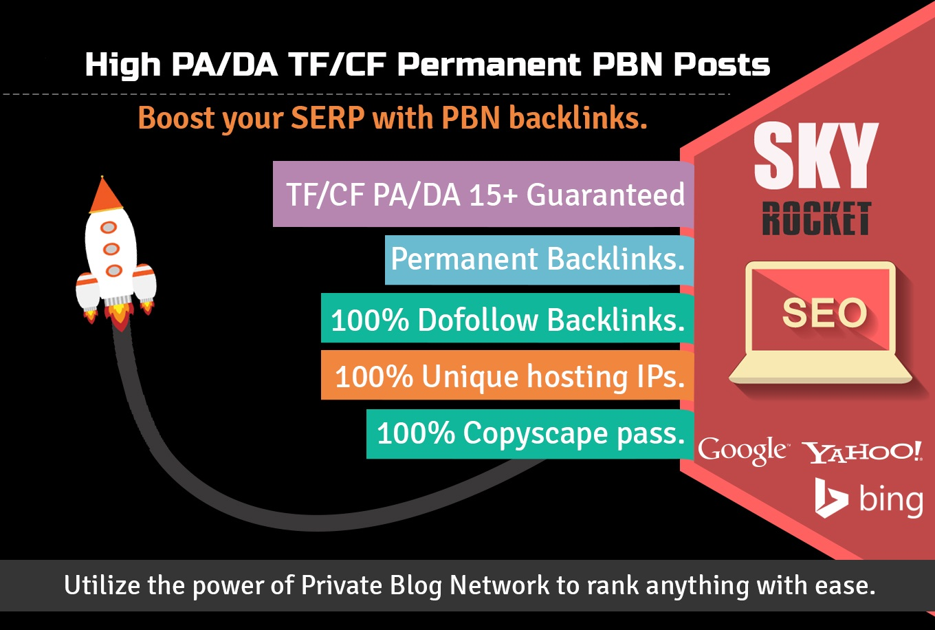 Create 12 High PA/DA TF/CF Homepage PBN Backlinks To Skyrocket you SERP