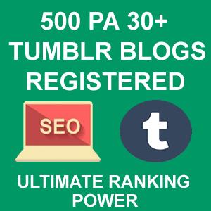 500 PA 30+ Tumblr Blogs Registered