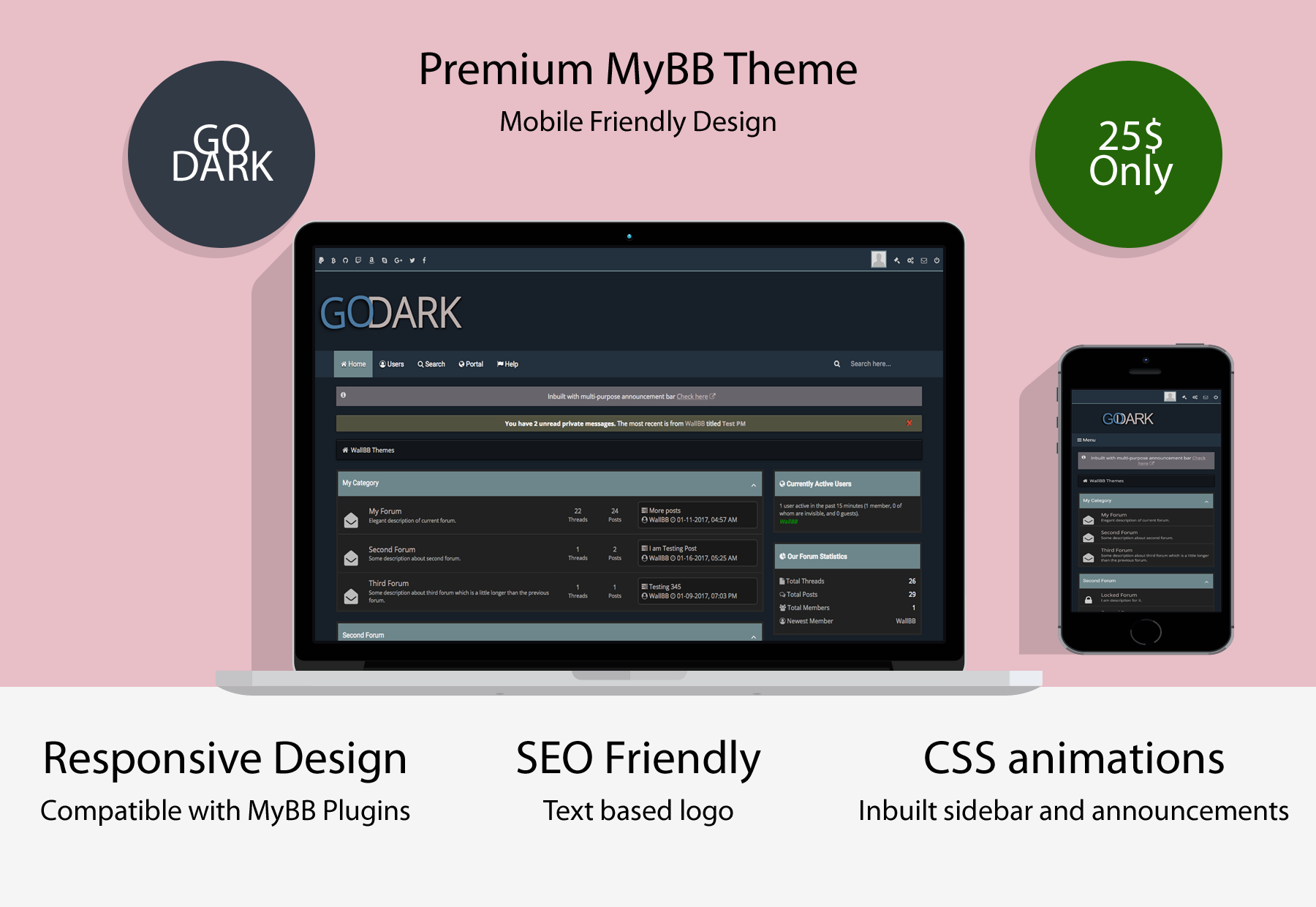 Go Dark Mobile Friendly Premium MyBB Theme