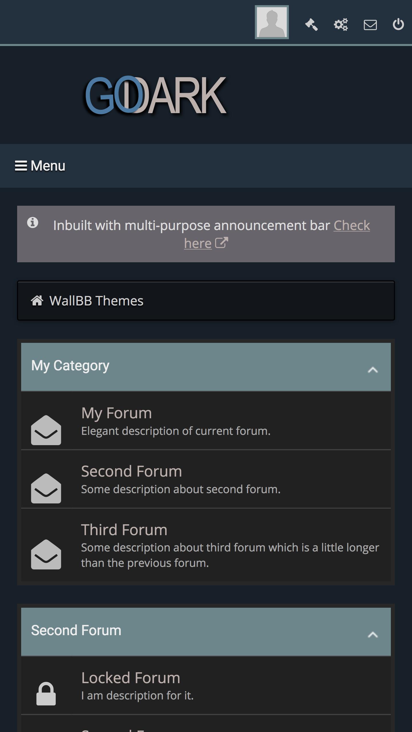 Go Dark Mobile Friendly Premium MyBB Theme