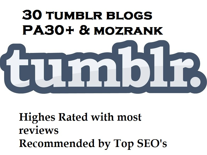 Provide 30 expired Tumblr blogs High PA 30 plus
