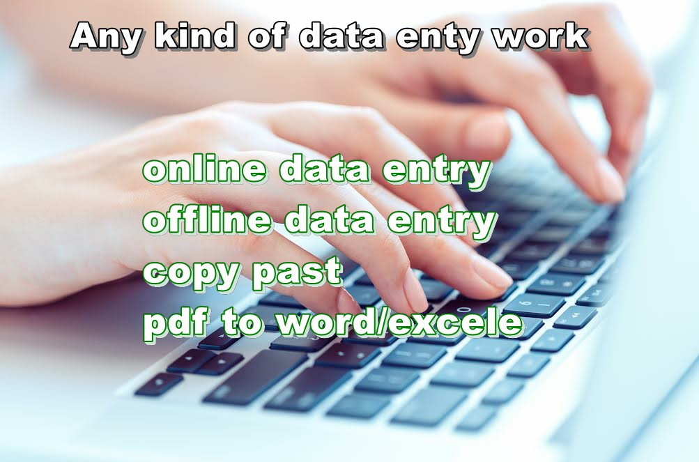 Any kind of data entry for you