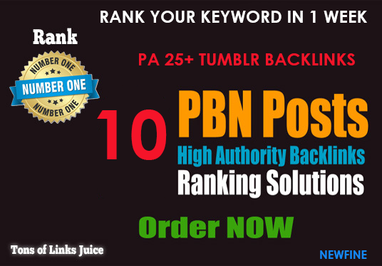 10 PBN Backlinks - Rank within 1 week.