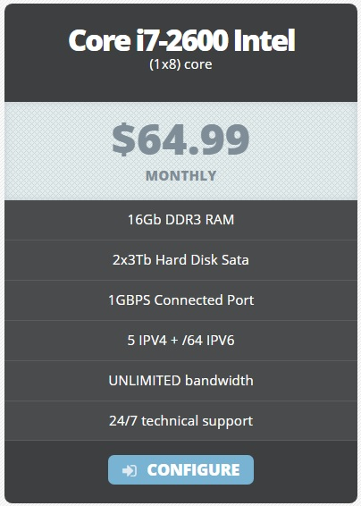 Cheap dedicated server 64.99/M