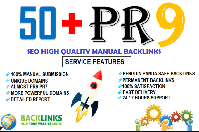 manually create 50+ PR9 seo high authority backlinks for Your web RANKING