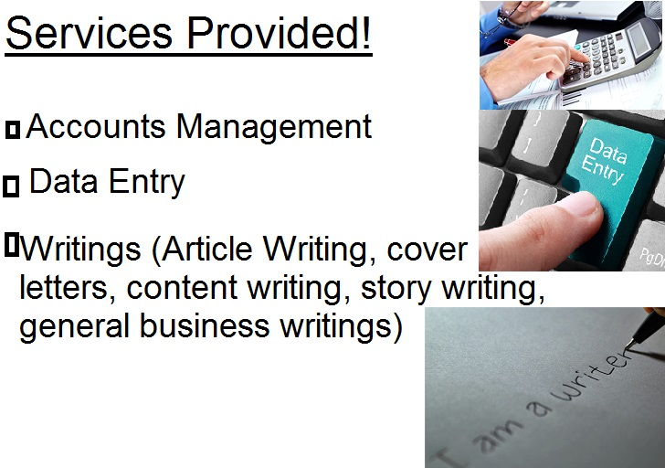 Writing expert,  data entry and Accounts Management
