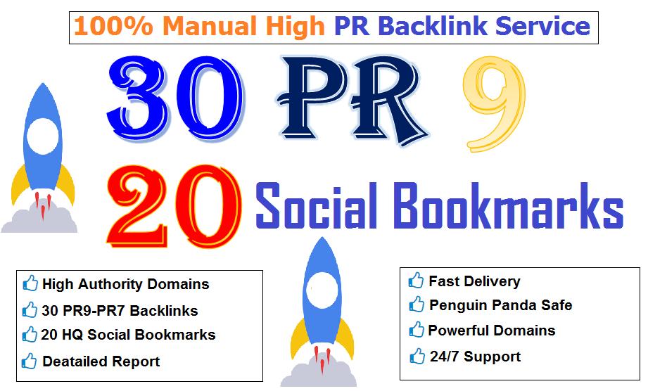manually do 30 PR9 + 20 HQ Social Bookmarks safe SEO Backlinks