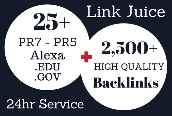 Powerful 25 PR7 - PR5 Alexa Edu Gov Backlinks and 2500 HQ Links