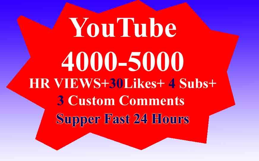 Instant 4000-5000 DeskTop Views+30 Likes+4 Subs+4 Comments