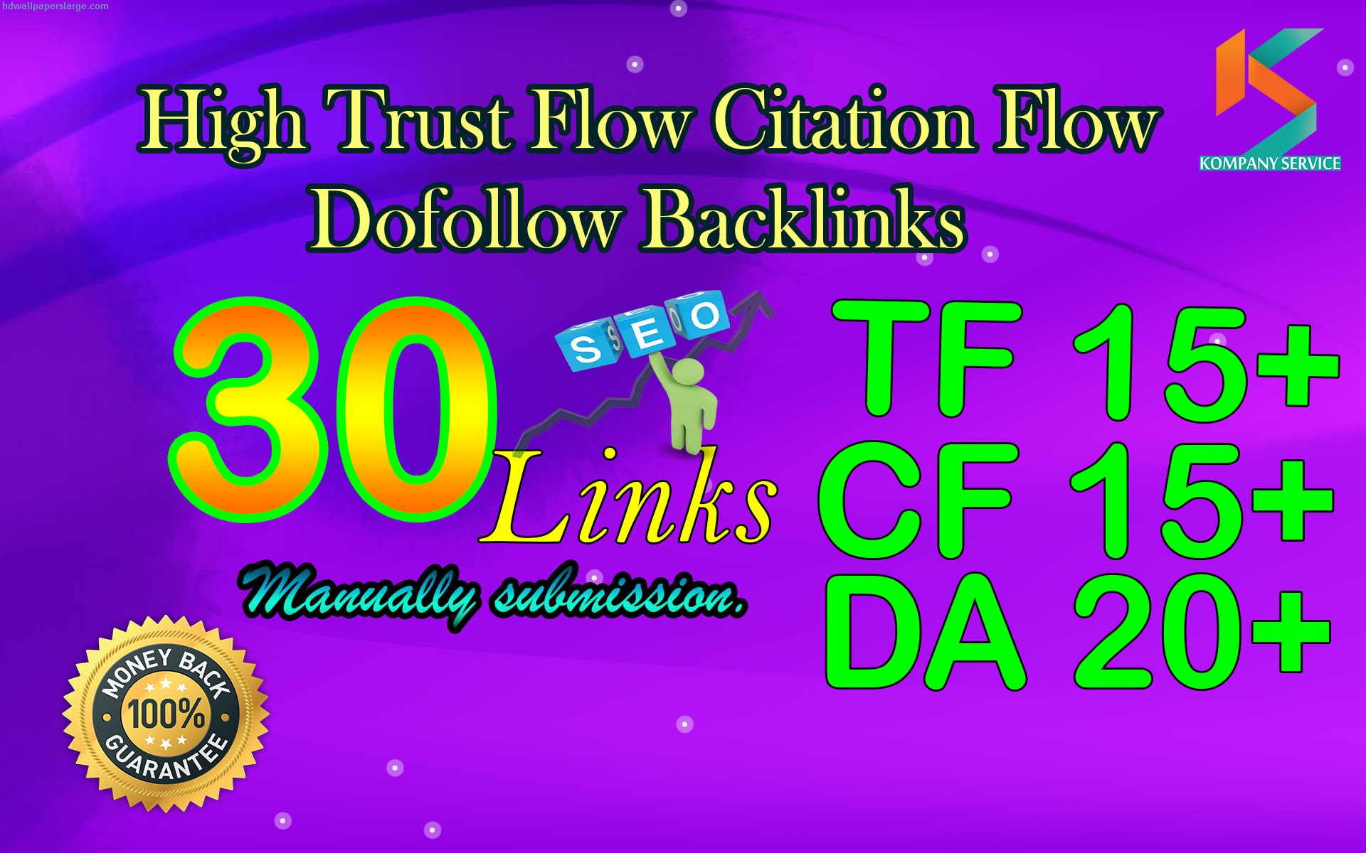 Make 30 Hight Trust Flow Manual Dofollow Backlinks