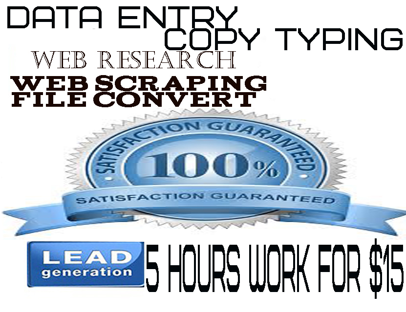 Do any kind of data entry & Web scraping,web Research work for 5 hours