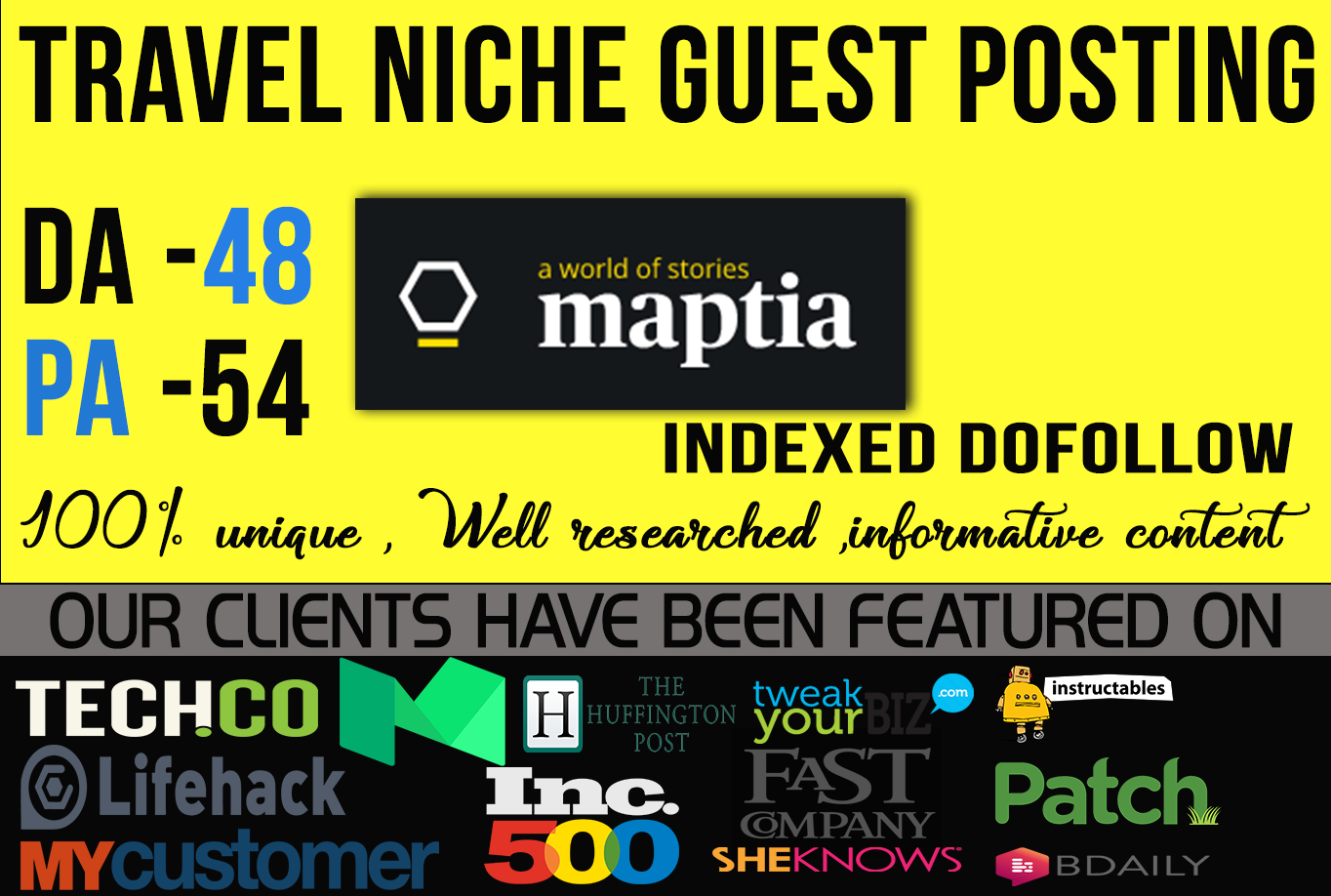 Publish Guest post on Travel site Maptia  com Do-Follow Link for $70