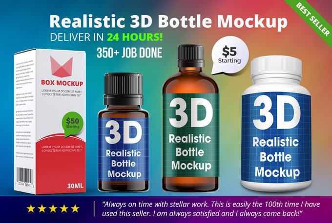 Put Your Pills Label On A 3D Realistic Bottle