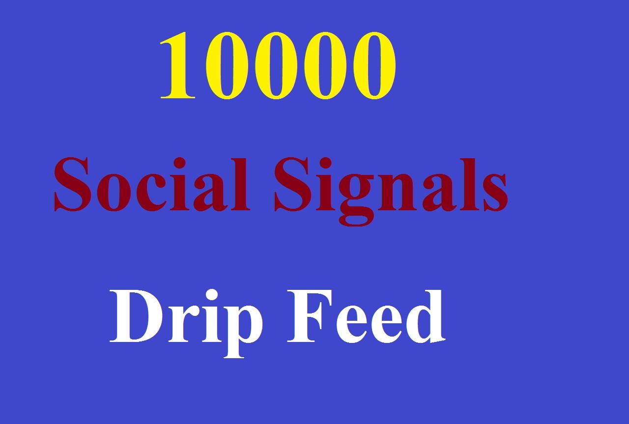 Drip Feed 10000 powerful mixed seo social signals