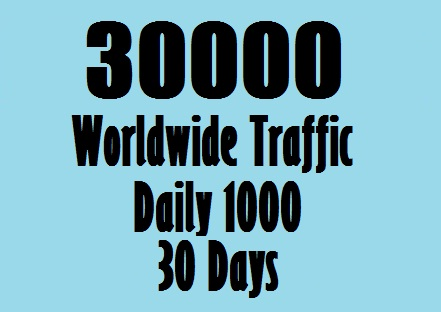 Daily 1000 real traffic Worldwide for ONE MONTH