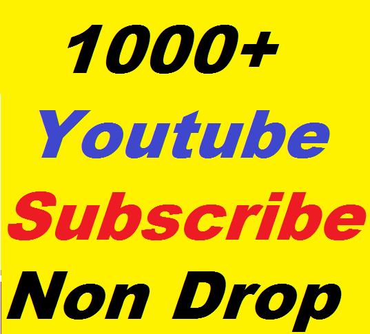 1000+ Youtube non drop Subscribers High Quality Guaranteed